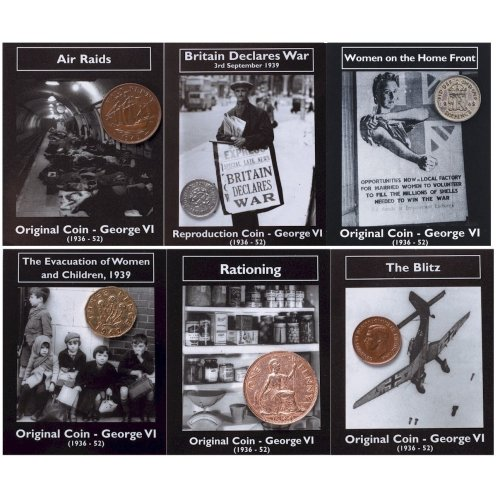 Original & Reproduction George VI Coin Packs Threepenny Sixpence Shilling WW2 WWII World War 2 Souvenir Gift