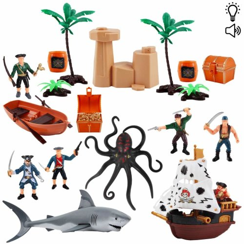deAO Pirate Action Figures Play Set with Boats, Treasure Chest, Cannons, Pirate Ship and Sea Creatures - Educational Toys with Light, Music and Accessories (2 Pack)