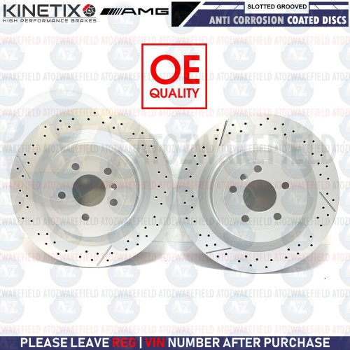 FOR MERCEDES BENZ GL63 AMG 12-15 REAR SLOTTED & GROOVED BRAKE DISCS PAIR 345mm
