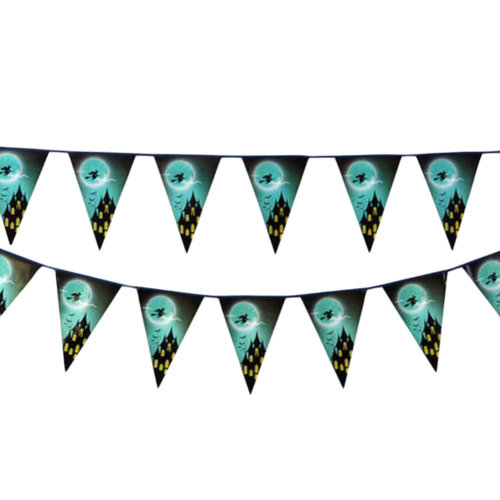 2PCS Halloween Witch Triangle Flag Creative House Party Decor 22CM