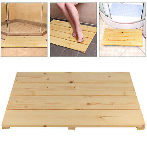 New Bamboo Wood Wooden Slatted Rectangular Bathroom Bath Shower Mat UK