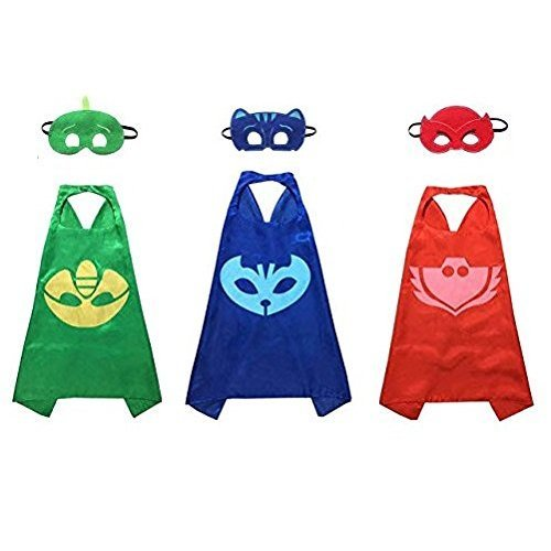 Kiddo Care Super hero Capes, Masks, Satin (PJ Mask Set)