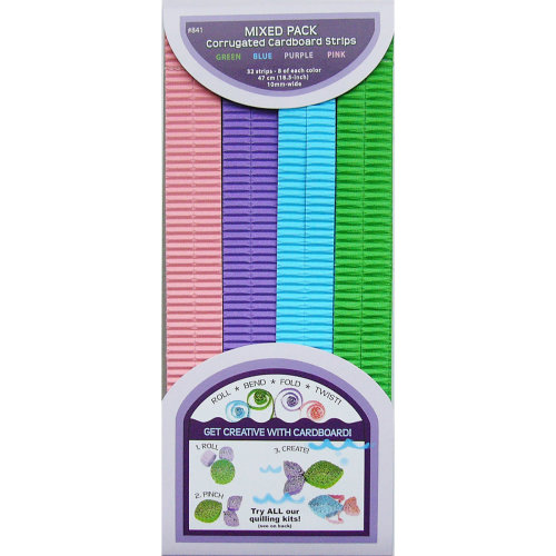 "Quilled Creations Quilling Paper Corrugated 18.5""X10mm 32/P-Blue, Green & Purple"