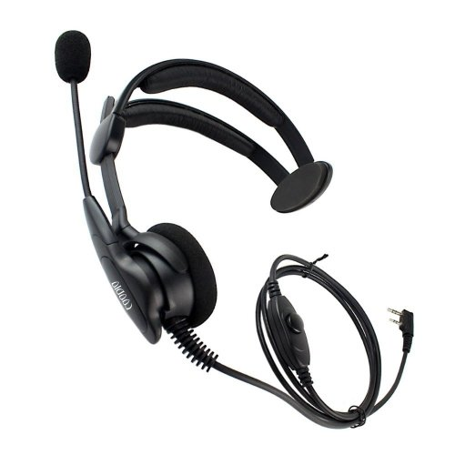 coodio Over-the-Head Earpiece Headset [Swivel Boom Microphone] [Noise Cancelling] For 2 Pin Kenwood Baofeng UV-5R, UV-82 Midland Wouxun 2 Way Radio