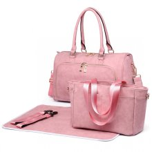 (Pink) Miss Lulu 3pc PU Leather Baby Changing Bag Set