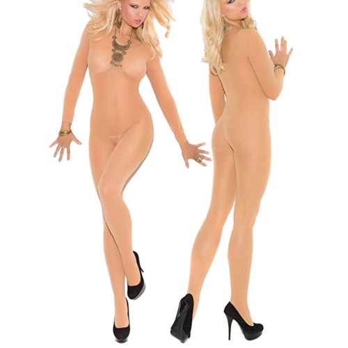 Ladies Nude Bodystocking Crotchless Open Crotch Long Sleeve Sexy Size 10 12 14