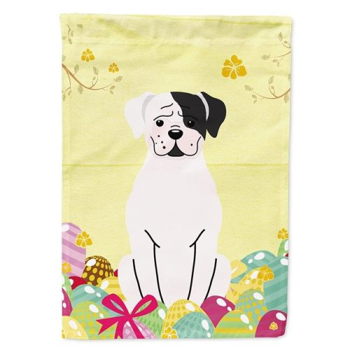 Carolines Treasures BB6114CHF Easter Eggs White Boxer Cooper Flag Canvas House Size