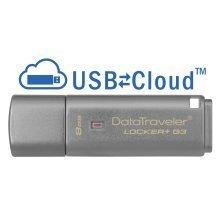 Kingston Technology DataTraveler Locker+ G3 8GB 8GB USB 3.0 Silver USB flash drive