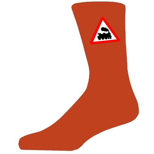 Orange Socks With a Warning Train Sign.  Perfect for that gift for that special person in your life.