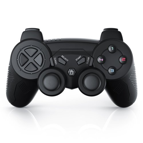 CSL - PS3 Gamepad Wireless with USB Adapter | for PlayStation 3 | Double Vibration | Joypad Controller including Charging Cable | Plug & Play | Black