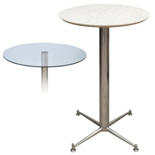Payson Tall Poseur Kitchen Dining Table Marble or Granite Table Top Table 4 Leg or Stainless Steel Frame 70cm Square(369) Brushed Steel Blue - Granite