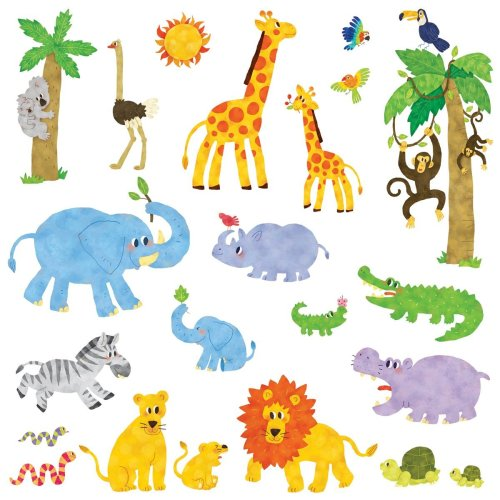 Decowall Dw 1513 Jungle Animals Kids Wall Stickers Decals L And Stick Removable For Nursery Bedroom Living Room Medium
