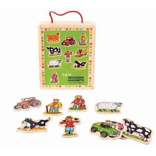 Bigjigs Toys Wooden Farm Magnets - 20 Play Pieces