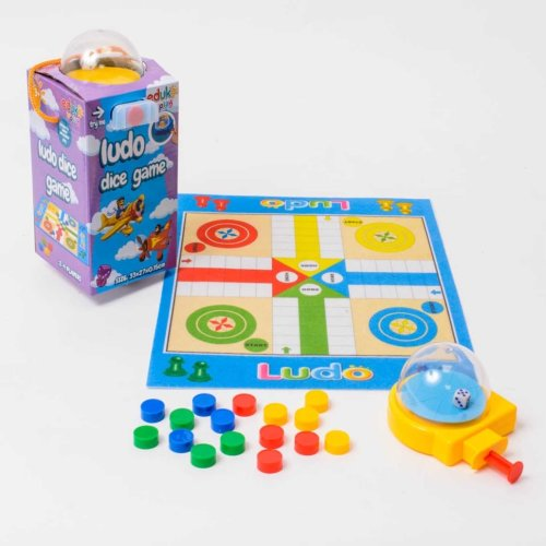 Eduk8 Worldwide   Traditional Mini Travel Ludo Game, with Mini Dice Dome. Never lose your dice again!