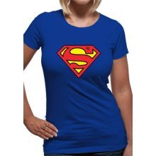 Superman -  superman logo tshirt fitted blue womens dc comics large extra brand new