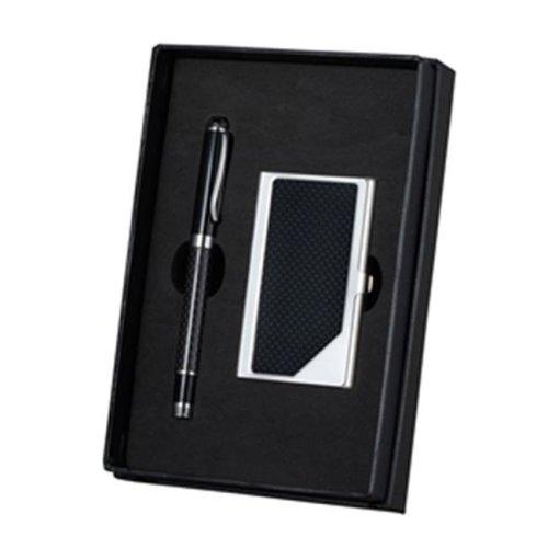 Visol VAC378 Executive Pen & Business Card Set - Black & Carbon Fiber