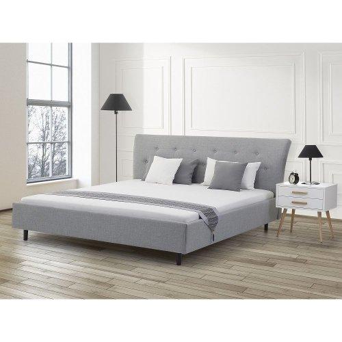 King Size - 5 ft 2 inch - Upholstered Bed 160x200 cm - incl. frame - SAVERNE light grey