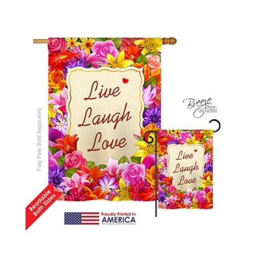 Breeze Decor 00055 Welcome Live, Laugh, Love 2-Sided Vertical Impression House Flag - 28 x 40 in.