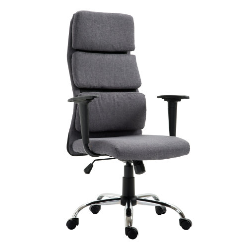 HOMCOM Grey Executive Chair | Linen Office Desk Chair