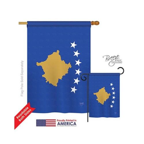 Breeze Decor 08373 Kosovo 2-Sided Vertical Impression House Flag - 28 x 40 in.