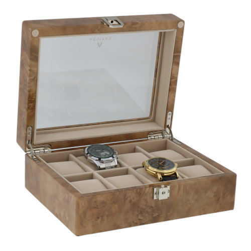 Watch Collectors Box for 8 Wrist Watches in Light Burl Wood by Aevitas