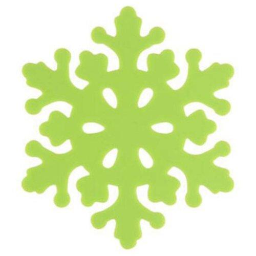 Set of 4 Beautiful Green Pot Holders Insulation Mats Nonslip Snowflake