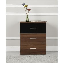 Homcom 3 Drawer Bedside Table Cabinet Chest Storage Bedroom Furniture High Gloss