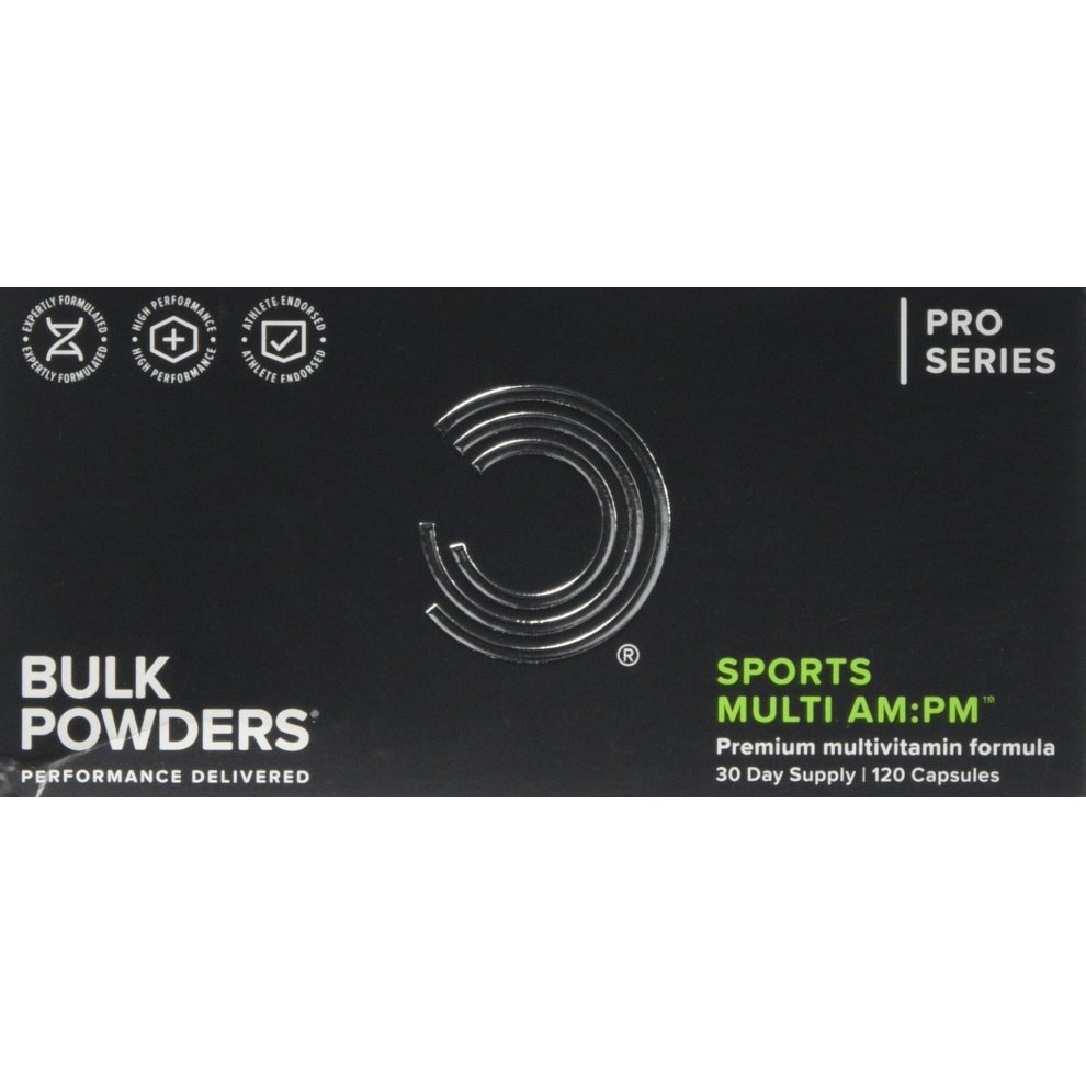 BULK POWDERS Sports Multi AM:PM Multivitamin and Mineral Supplement for Men  and Women with Vitamins A,B,C,D,E,Magnesium, Zinc and Iron, 180