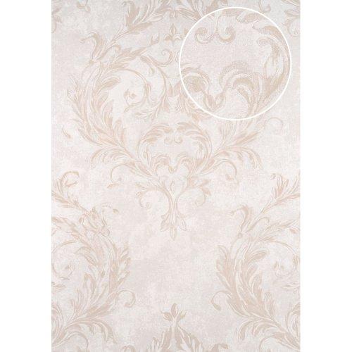 ATLAS CLA-603-7 Baroque wallpaper shimmering silver oyster white 5.33 sqm