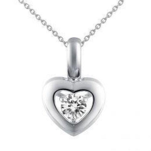 Solitaire Round Diamond 0.50 Ct  Heart Shape Pendant White Gold 14K