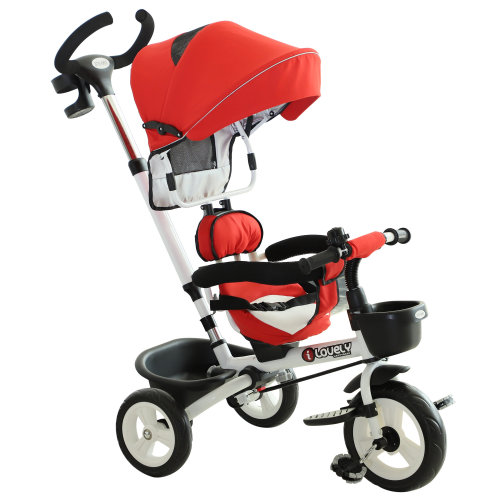 HOMCOM 4-in-1 Baby Tricycle Folding Stroller Kids Trike Detachable w/ Canopy - Red