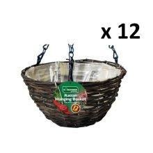 "12 X Kingfisher 12In (30Cm) Dark Rattan Hanging Basket Black 16"" Chain"