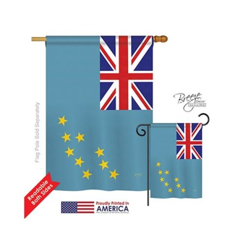Breeze Decor 08339 Tuvalu 2-Sided Vertical Impression House Flag - 28 x 40 in.