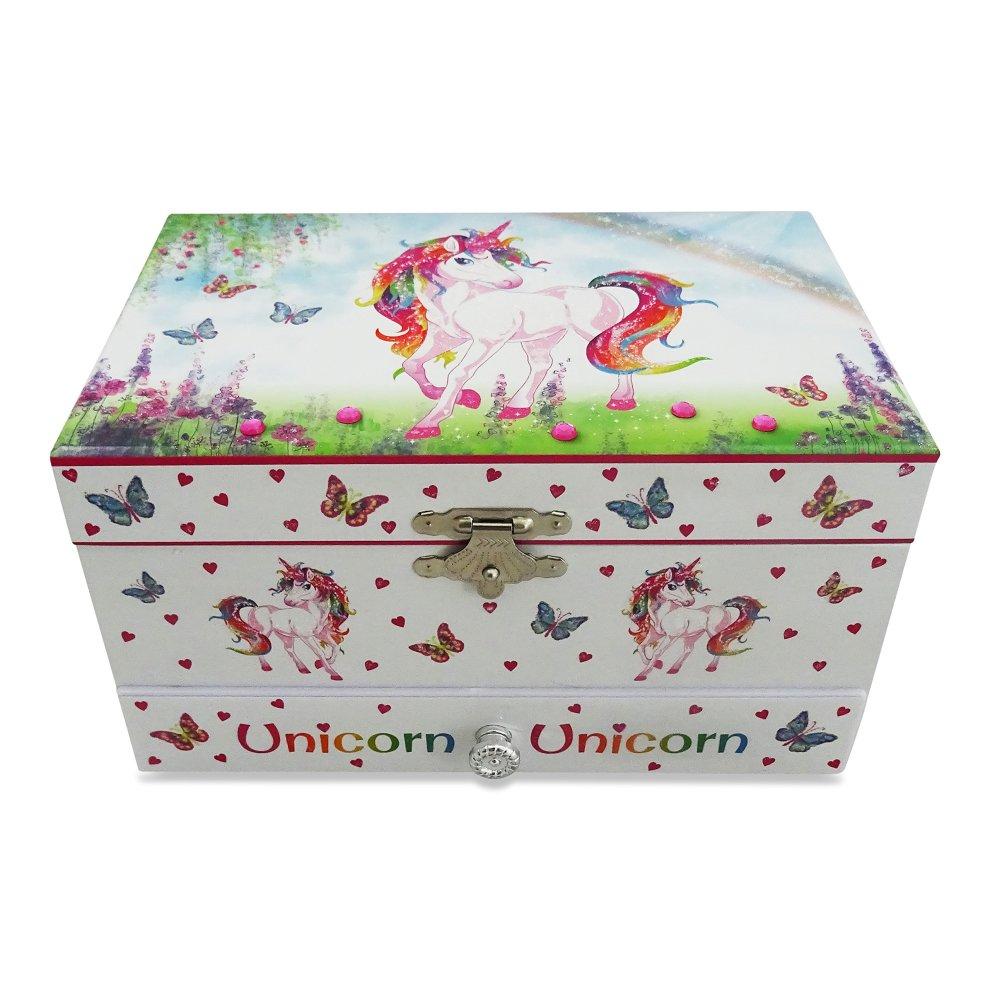 da7a11bcf66 ... Magical Unicorn Kids Musical Jewellery Box - Pink Glittery Kids Music  Box With Ring Holder ...