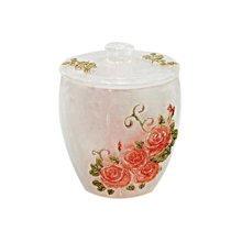 Resin Cotton Stick Box Toothpick Holder Storage Box, White Rose
