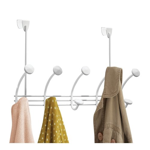 mDesign Over the Door Coat Rack - Coat Rail with 10 Door Coat Hooks for Jackets, Robes, Scarves and Towels - Wardrobe Coat Rack - White