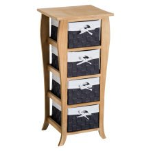 HOMCOM Storage Tower, 4 Wicker Baskets, 36.5Lx31.5Wx79.5H cm-Natural Wood Colour