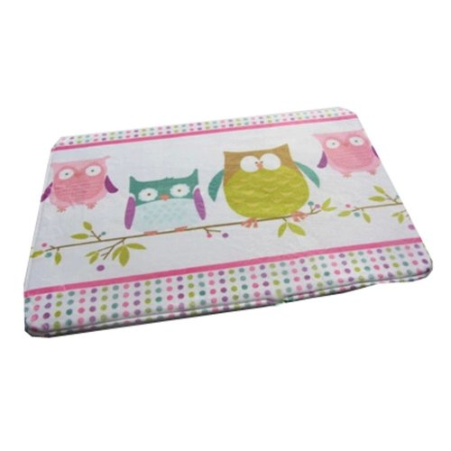 Cute Soft Kids Bedroom Rug Owls Animal Door Mat