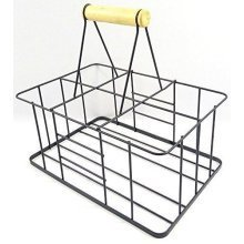 Vintage Bottle Carrier For Up To 6 Bottles - Strong Metal Constructrion With Woodden Handle
