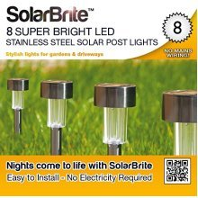 Solar Brite Deluxe 8 Super Bright LED Stainless Steel Solar Post Lights Free to Run No Running Costs
