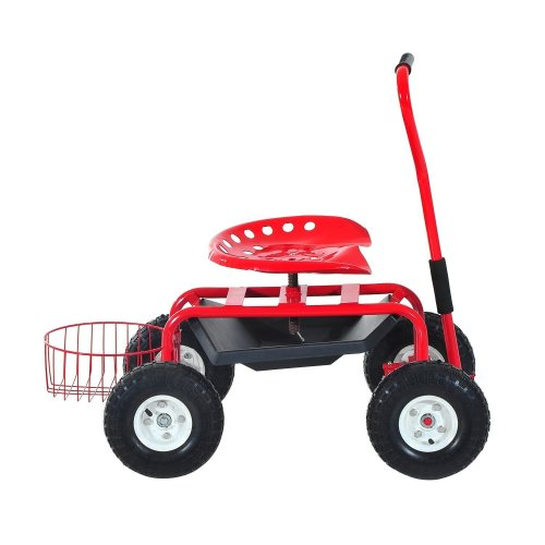Outsunny Red Garden Trolley | Gardener's Cart With Seat