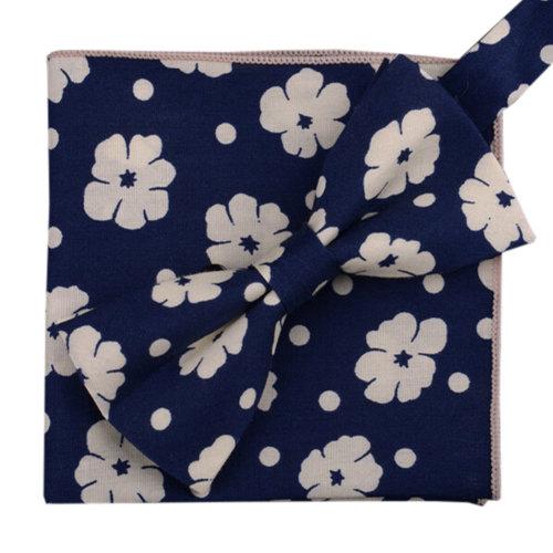 Korean Formal/Informal Bow Tie Pocket Square Casual Cotton Handkerchief #07