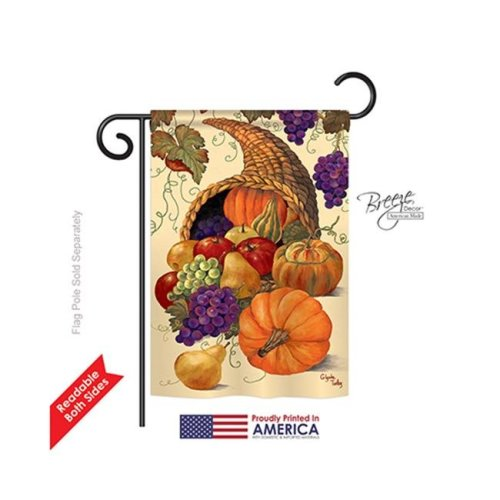 Breeze Decor 63041 Harvest & Autumn Cornucopia 2-Sided Impression Garden Flag - 13 x 18.5 in.