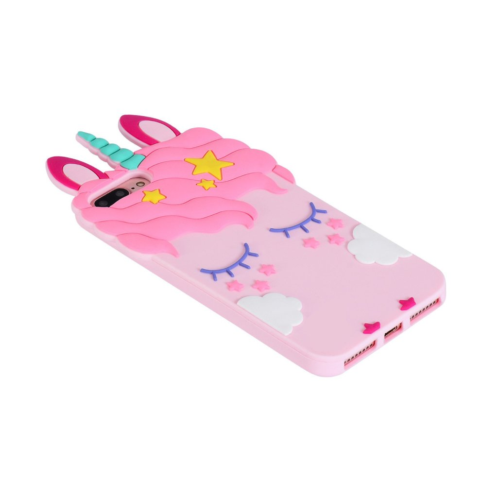 buy online 7188a e2e7d Pink Unicorn iPhone 7 iPhone 8 3D Soft Silicone Case, Cute Fashion Animal  Rubber iPhone 7/8 Cover, Cool Lovely Kawaii Cartoon Carrying Gel Cases...