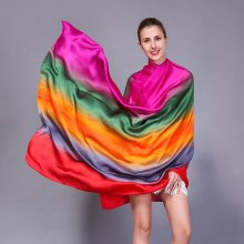 Splicing Colors Comfortable Silk Scarf Travel Casual Sunshade Breathable Towel For Women