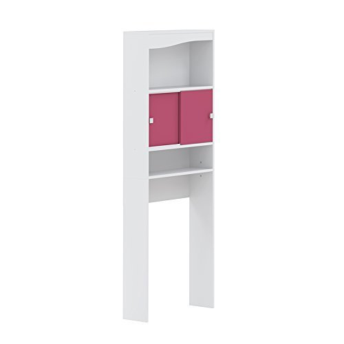 Symbiosis Meuble 6090A2136A17 WC-Washing-Machine Cabinet – White with Fuchsia Façade 6090A2136A17