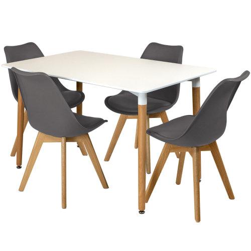 Peachy Rectangular Dining Table Set Four 4 Dinner Kitchen Chairs White Solid Beech Wood Frankydiablos Diy Chair Ideas Frankydiabloscom