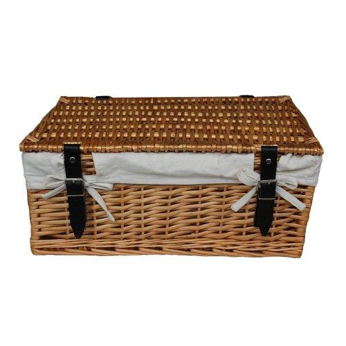 Large Wicker White Cotton Lined Hamper | Empty Wicker Basket
