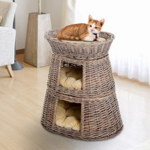 PawHut Handmade Wicker Cat Cave Play House with Cushions (3-Tier)