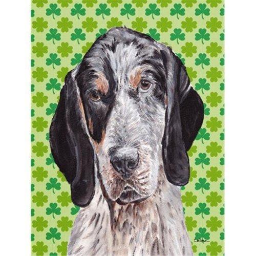 Blue Tick Coonhound Lucky Shamrock St. Patricks Day Flag Garden Size